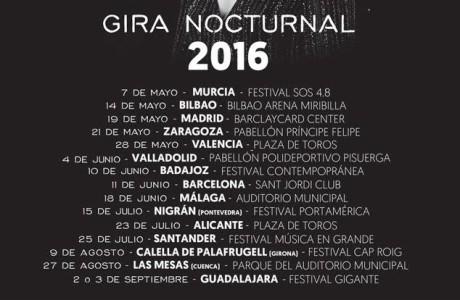 Gira #NocturnalTour25 : 15 Primeras Fechas